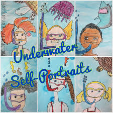 The Artsy Fartsy Art Room 2nd Grade Underwater SelfPortraits 2015