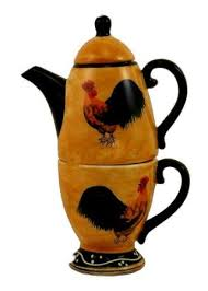 Rooster Kitchen Decor ROOSTER TEAPOT W TEA CUP FOR ONE POT Amazon