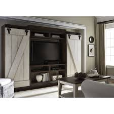 Liberty Lancaster Weathered Bark And White Entertainment Center With Piers Distressed Barn Door Ent Brown