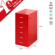 Six Drawer Storage Cabinet by Slim Six Drawer Vertical Red Color Steel Labels Storage Cabinet