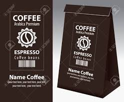 Paper Packaging With Label For Coffee Beans Vector Bean In