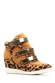 leopard print gold velcro strap sneaker wedges cicihot women
