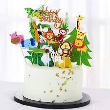 35 stück tier cake topper happy birthday dschungel girlande für kinder junge mädchen tier kuchendeckel topper für kinder tortendeko