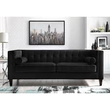 100 Modern Couch Design Rin Black Velvet Sofa Button Tufted Square Arms Tapered Legs Contemporary