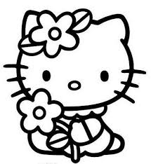 Kitty Coloring Sheets On Cute Hello Pages With A Flower That Grasped Tightly In