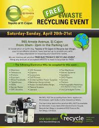 toyota of el cajon to host free weekend ewaste recycling event in