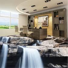 Beibehang Floor Tiles Waterfall Stone 3d Photo Wallpaper Vinyl Flooring Self Adhesive Bedroom