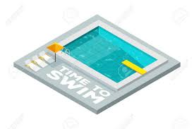 Vector Illustration Time To Swim Swimming Pool Flat Isometric Icon With A Diving