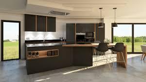cuisine gris bois cuisine gris anthracite bois et cuivre avec îlot design