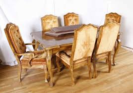 dining room table six chairs french provincial pecan table five