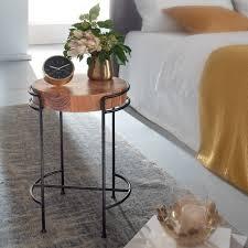 wohnling beistelltisch akazie massivholz 35x51x35 cm wohnzimmertisch rund kleiner designer tisch massiv design holztisch mit metallbeinen