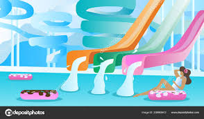 Water Slide Vector Illustration Swimming Pool With Pipe And Tube Park To Down