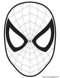 Spider Man Face Template Cut Out Colouring Page Coloring Pages