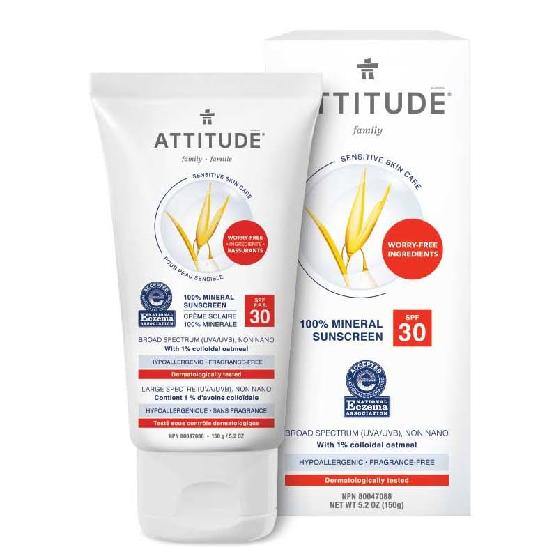 Attitude Sensitive Skin Mineral Sunscreen SPF 30 - Fragrance-Free