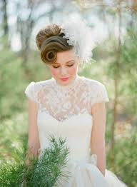 Curved Ponytail High Updo Vintage Wedding Hairstyles With Big Floral Hair Broach
