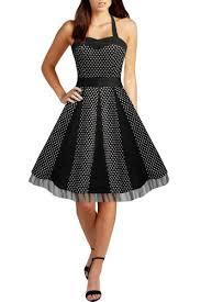 Black Halter Polka Dot 50s Swing Dress