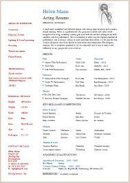 Printable Acting Resume Sample