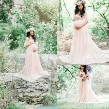Pregnant Women Off Shoulder Party Dresses Ruffle Maternity