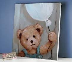tableau ourson ballon pour déco de bébé vente tableau nounours pour