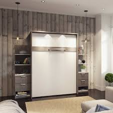 Cielo Queen Wall Bed In Gray With Two Side Storage Towers