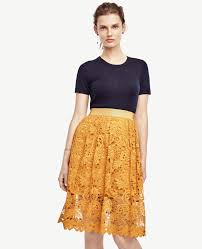 ann taylor floral lace skirt in yellow lyst