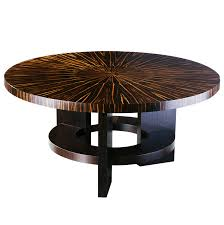 Fifth Avenue New York Art Deco Style Round Dining Table With Massacar Ebony  Veneer - James Salmond Furniture Art Deco Ding Set Buyfla Art Deco Ding Room Chairs Fniture French Style Set Large Chair Products In 2019 Metal Bed Frame Modern Uk Table And Chairs For Sale Strathco Custom Upholstered Of 8 Antique Burr Ref No 03979 Regent Antiques Style Fniture Alargaco English Leather Newel 1930s Vintage 6 1940s Ebony Stained Oak Decostyle With Vase Shaped Legs Descgarappvnonline