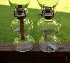 Lamplight Farms Oil Lamp Chimney by Vintage Lamplight Farms Oil Lamp Pair Clear Glass With Chimneys