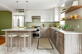 Green Modern Kitchen With Soft Wood Tones