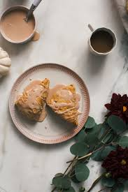 Pumpkin White Chocolate Chip Scones by Pumpkin Chai Scones W Black Tea Glaze U2013 A Cozy Kitchen