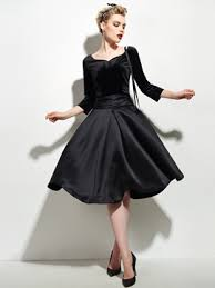 Ericdress Solid Color Half Sleeve Vintage Little Black Dress