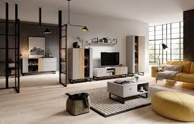 wohnzimmer komplett set a tunis 6 teilig farbe grau eiche
