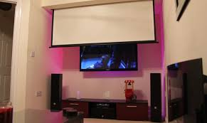hdtv wall mount w recessed in ceiling drop down projector screen