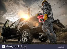 100 Contractor Truck Caucasuan And His Pickup Field Job Stock Photo