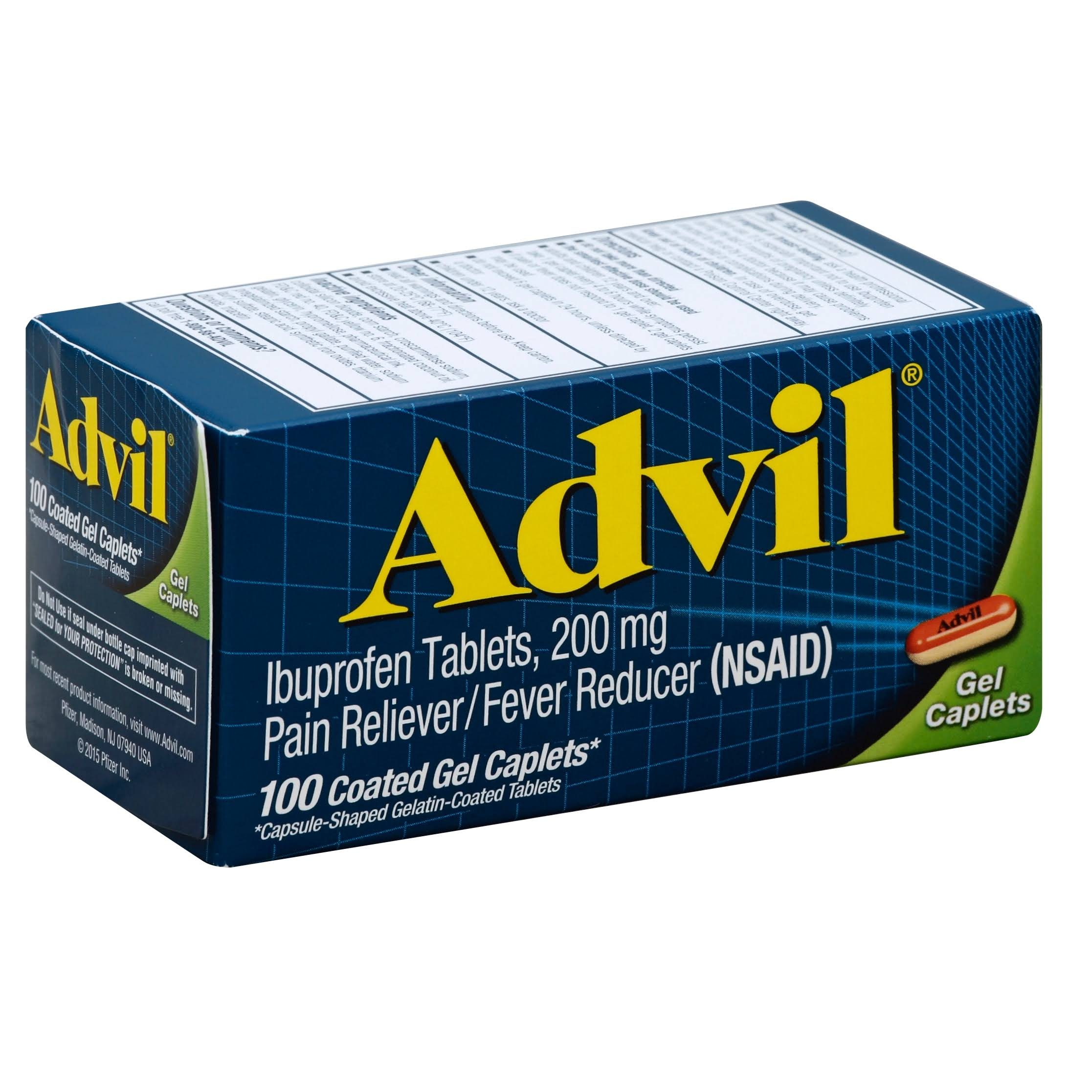 Advil Pain Reliever - 100 Coated Gel Capsules, 200mg