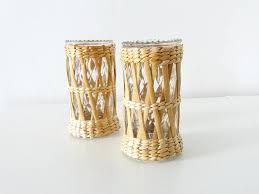 Rattan Covered Drinking Glasses Wicker Tumblers Rustic Folk