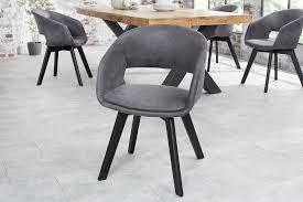 esszimmerstuhl 2er set stuhl mikrofaser vintage grau metall