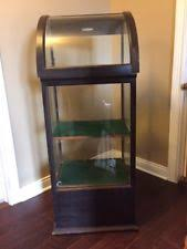 Antique Curve Glass Display Case For Canes Walking Sticks Or Made Of Oak