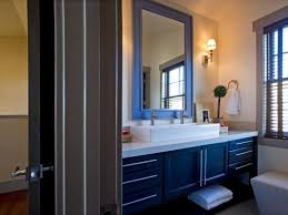 alluring bathroom blue brown navy and square mirror on light wal