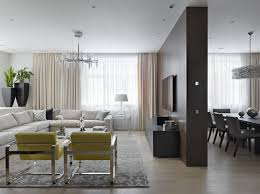 Contemporary Master Bedroom Design Among Grey Tufted Headboard Also Dark Sideboard Ideas At Airy Apartment Moscow