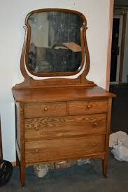antique oak bedroom dresser or small chest with mirror brass locks