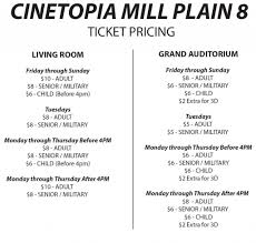 Cinetopia Living Room Theater Vancouver Mall by Pricing Page U2013 Mill Plain 8 Cinetopia
