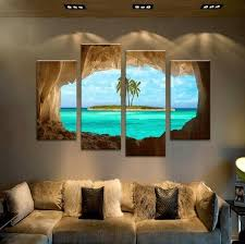 4 panel framed cave island seascape canvas wall octo