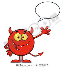 Clipart of a Round Red Devil Waving and Talking Royalty Free Vector Illustration