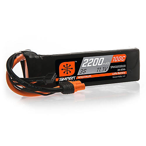 Spektrum 11.1V 2200mAh 3S 100C Smart Lipo battery, IC3, Spmx22003s100