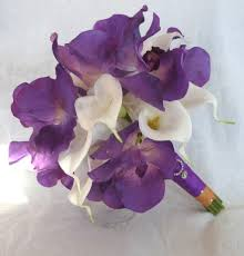 4 Piece Purple Orchid Bridal Bouquet Real Touch Vanda Orchids With White Calla Lilies And Hydrangea Tropical Wedding