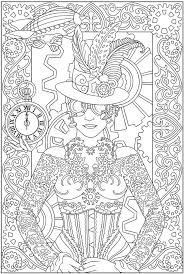 Free Coloring Page Adult Clock Woman Of A With Clothes And Accessories Inspired By Clocks Watches