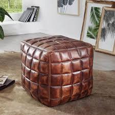 finebuy sitzwürfel fb48820 sitzwürfel stan echtleder braun 39 x 41 x 39 cm ottomane wohnzimmer design pouf hocker orientalisch polster sitzhocker