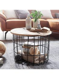 finebuy couchtisch mango massivholz metall 60x43x60 cm rund wohnzimmertisch stauraum loungetisch sofatisch klingel