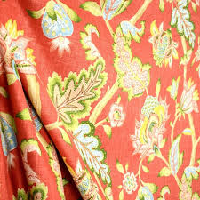 Jacobean Floral Curtain Fabric by Dahana Carnival Cranberry Red Green Blue Yellow Jacobean Floral