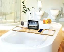 wood bathtub caddy with reading rack bath caddy reading rack